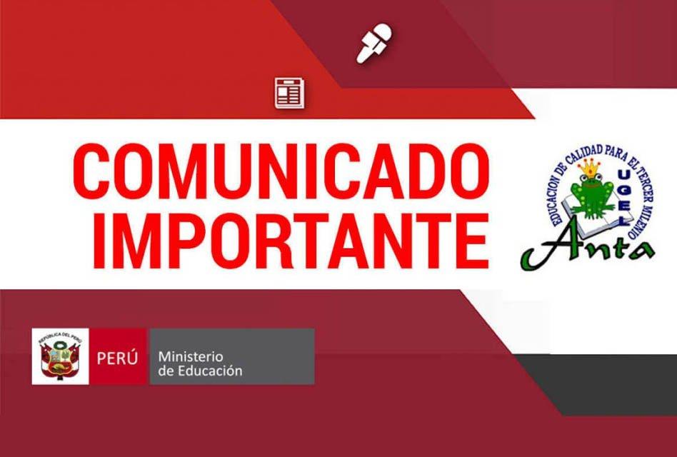 REITERA COMUNICADO EVALUACION CENSAL DE ESTUDIANTES (ECE -2018)